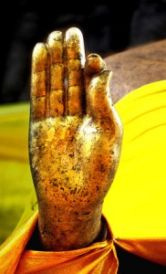The hand of Golden Buddha image.